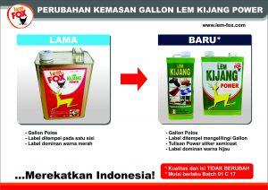 FA_Info Rubah kemasan Gallon LEM KIJANG POWER